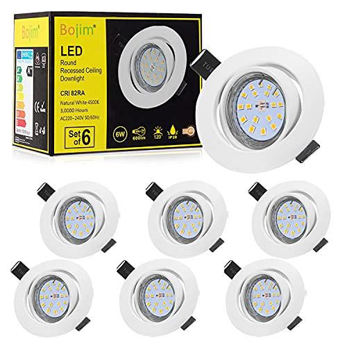 Bojim Faretti LED da incasso per cartongesso GU10 6 × Luci da Incasso Plafoniere LED...