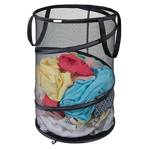 mDesign Cesta para la colada plegable – Práctica cesta de la ropa sucia de tejido de malla transpirable – Para ropa seca y húmeda, ocupa poco espacio – Saco de malla para lavadora – negro
