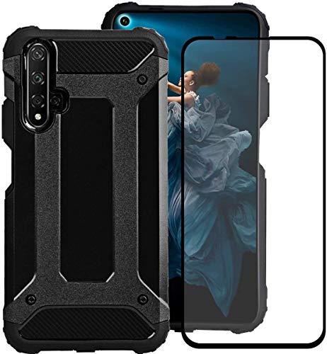 Coque pour Honor 20 Pro + Verre Trempé, Weideworld [Armor Box] [Double Couche] Étui de Protection Antichoc Housse pour Huawei Honor 20 Pro, Noir