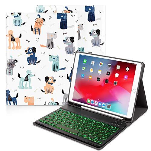 iPad Keyboard Case Kids 10.2 for iPad 8th/7th Generation, iPad Air 3rd/iPad Pro 10.5, 7 Colors Backlit Detachable Bluetooth Keyboard Smart Cover with Pencil Holder, Auto Sleep/Wake (Cute Dog)