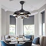 Ventilador de techo retráctil de 42 pulgadas 36W con LED moderno ventilador invisible,lámpara de araña regulable color blanco y amarillo para dormitorio,salón,comedor,despacho y oficina