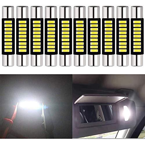 ALOPEE - Confezione da 10 Lampadine LED Allo Xeno da 100Lumen, Colore Bianco da 28mm - 29mm, 12V, 4014 9-SMD, per Specchietto Retrovisore Auto 6615F 6614F 3021 3022 3175 T-2 SF6/6