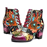 gracosy Leather Ankle Boots for Women, Block Heel Vintage Side Zipper Floral Pattern Boots Lace up with Warm Lining Purple 8 M US