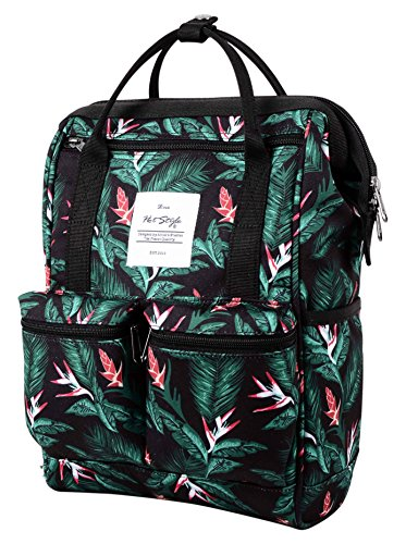 HotStyle DISA Fashion Blumen Damen Laptop Rucksack 12 Zoll (35x23x15cm), Schwarz