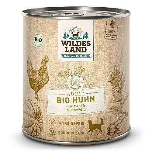 Wildes Land   Nassfutter für Hunde   Bio Huhn   6 x 800 g  Getreidefrei   Extra hoher Fleischanteil von 60%   100% zertifizierte Bio-Zutaten   Beste Akzeptanz und Verträglichkeit