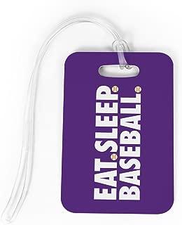 Baseball Luggage & Bag Tag | Eat Sleep Baseball | Custom Info on Back | MEDIUM | PURPLE