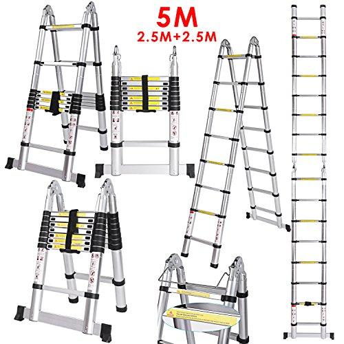 Voluker Échelle Télescopique Pliante 5M (2,5M + 2,5M), Échelle Escabeau Télescopique En...
