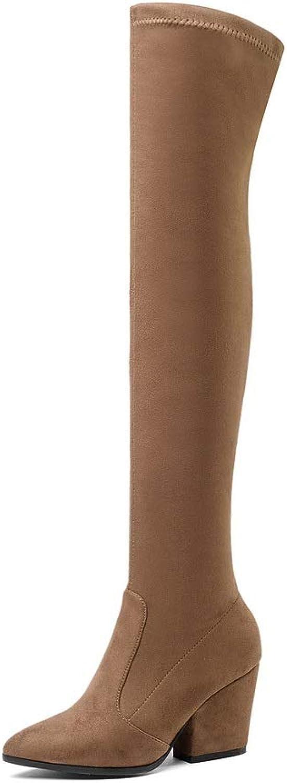 AdeeSu Womens Chunky Heels Pointed-Toe Imitated Suede Boots SXC03785