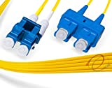 FiberCablesDirect 4Pk 1M OS2 LC SC Single Mode Fiber Patch Cables - 4 Pack   Duplex 9/125 LC to SC Singlemode Jumper Cord 1 Meter (3.28ft)   Pack Options: 2, 4, 6, 10, 12, 24   pvc sm patch-cord lc-sc