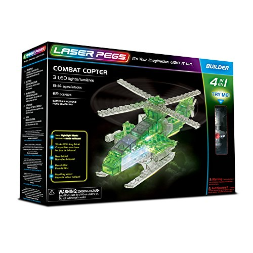 Laser Pegs 41012 Combat Copter 4-in-1 Building Set Building Kit; The First Lighted Construction Toy to Ignite Your Child's Creativity; It's Your Imagination, Light It Up