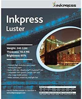 Inkpress RC Luster Single Sided Paper for Inkjet Printers, 240gsm, 10.4 mil, 8 x 12