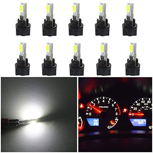 Lot de 10 ampoules LED Canbus T5 W3W 5730 SMD 37 73 74 - Pour tableau de bord, compteur de vitesse, jauge - Par WLJH