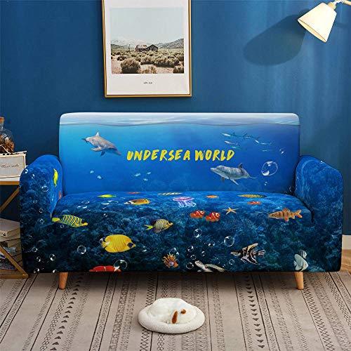 HXTSWGS Suave Funda de sofá para Sala de Estar,Funda de sofá Dolphin con Estampado 3D, Fundas elásticas, Funda de sofá elástica seccional para Sala de Estar, sofá Cove-SFW009_4 plazas 235-300cm