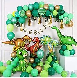 5. Bright Balloons Dinosaur Birthday Party Supplies (110 pcs)