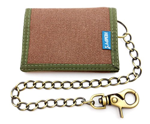 Hempy's Hemp Tri-fold Wallet with Chain – Brown – One Size