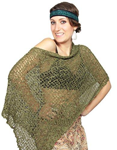 Weltentänzer Damen Hippie Boho Strick Poncho Häkel Netz Poncho Cape Überwurf Umhang Schal Stola Top - Olivgrün