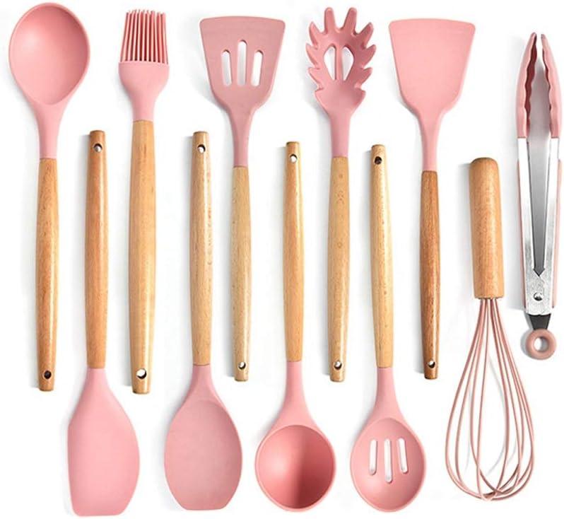Pink Silicone Kitchenware Set Topics on Overseas parallel import regular item TV Food-grade Wood Cooking Utensils