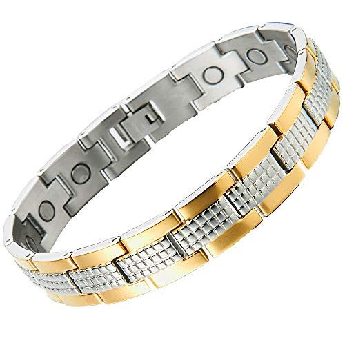 COOLSTEELANDBEYOND Edelstahl Magnetisches Herren Armband Magetarmband Gold Silber Kombination 21.2cm,Link-Tool zum Entfernen Enthalten