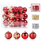 Aitsite 24PCS Bolas de Navidad 6 cm Bolas de árbol de Navidad Adorno de Pared Colgante de Pared Adornos Decoraciones Árbol Bolas Decorativas Boda de Fiesta Hogar Decoraciones para Festivales