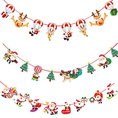 HeyMoly 2020 Christmas Ornament, Merry Christmas Banners Christmas Tree Decoration for Home Office Classroom Hotel Shop Party Decor 3 Sets (B)