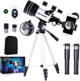 FREE SOLDIER Telescope for Kids&Astronomy Beginners - 15X-150X High Magnification Astronomical Refractor Telescope Portable Travel Telescope for Adults Great Astronomy Gift for Kids, White