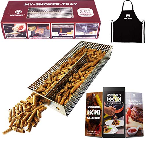 """MYCRITEE Maze Pellet Smoker Tray 3.5"""" x 8""""   Apron + 3 eBooks for Grilling and Smoking Recipes   Additional Billowing Cold Smoke for All Grills or Smokers   Ideal for Smoking Cheese, Fish, Pork"""