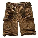 geographical norway - pantaloncini cargo/bermuda stile cacciatore con cintura e bandana ud kaki xxxl