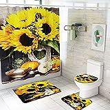 SHUOFUSH Juego de baño con Estampado 3D de Flores de Girasol, Cortina de Ducha de Fibra Impermeable, Juego de Alfombrilla de baño Antideslizante, Alfombra para Asiento de Inodoro, Alfombra