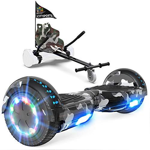GeekMe Patinete Eléctrico Auto Equilibrio con Hoverkart, Hover Scooter Board, Balance Board + Go-Kart 6.5 Pulgadas con Bluetooth, Luces LED, Regalo para Niños, Adolescentes y Adultos