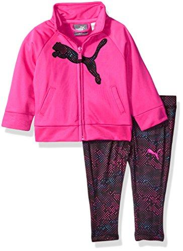 PUMA Toddler Girls' Track Jacket and Legging Set, Pink Glow, 3T