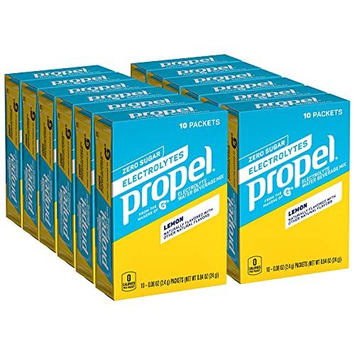 Propel Powder Packets, Lemon With Electrolytes, Vitamins and No Sugar, (120 Pack) (Packaging May Vary)