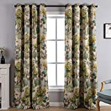 Kotile Forest Artistic Oil Painting Print Rustic Vintage Decor Collection Blocking Draperies 2 Panels 84 Inch Length, Grommet Treatment Thermal Insulated Room Darkening Curtains for Living Room