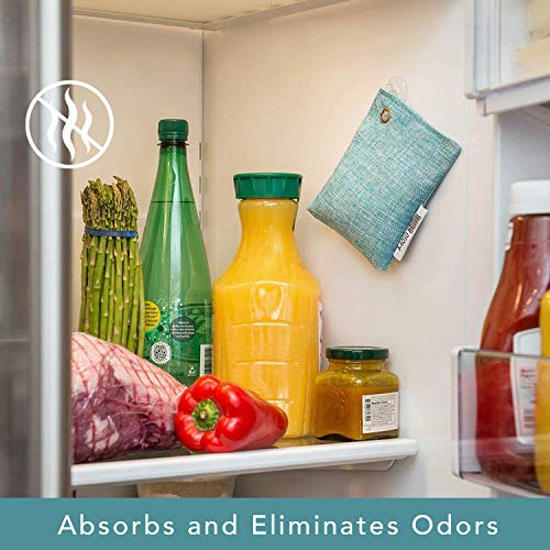 Moso Natural Air Purifying Bag For Your Refrigerator. More Powerful Than Baking Soda. Refrigerator Odor Eliminator. Reuse Up To Two Years