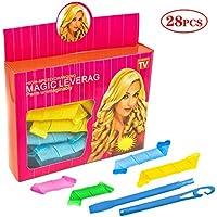 28 Piezas Heatless Plástico Mágico Rizador, SANTOO Multifuncion Magico Rodillos de Pelo Estilismo de Sueño Moda espiral manual Rulos pelo crear una forma de rizo perfecta