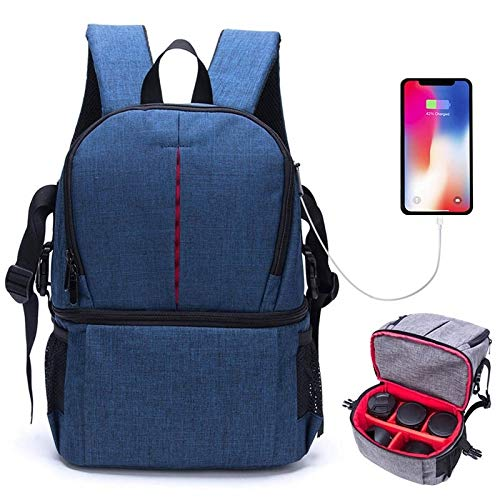 CAPOOK Multi-functional Waterproof Nylon Shoulder Backpackage Padded Shockproof Camera Case Bag for Nikon Canon DSLR Cameras (Grey) (Color : Blue)