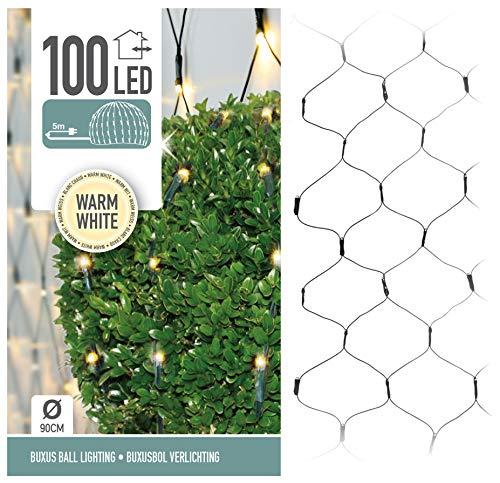 LED Lichterkette für Buchsbaum Kugel mit 100 LED - Ø 90cm - Buchskugel Deko Lichternetz