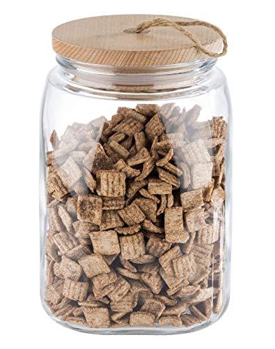 """APS Vorratsglas """"Woody"""" – Hochwertiges Glasbehältnis mit Deckel aus Holz – Durch die Silikondichtung bleibt das Aroma des Inhaltes länger vorhanden – 2,5 Liter"""
