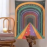 Vintage Rainbow Doors Tapiz Bohemio Colgante De Pared Arte De La Pared Decoración Hippie Estética Decoración De La Habitación Tarot Cards Decoración Mural Decoración De La Habitación 150x130cm
