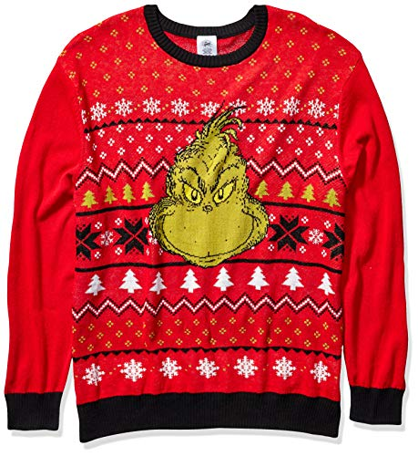 Dr. Seuss Men's Ugly Christmas Sweater, Red/Black, Large