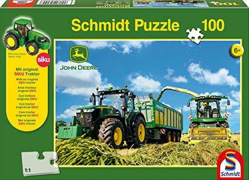 Schmidt Spiele 56044 John Deere, 7310R mit 8600i Feldhäcksler, 100 Teile Puzzle, mit Siku Traktor, meerkleurig
