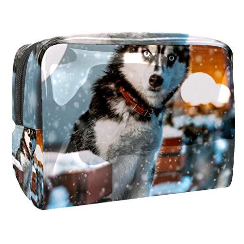 TIZORAX Husky In The Snow Sacs cosmétiques en PVC Trousse de toilette de voyage organiseur pratique pour femme