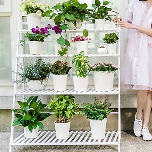 4ème étage Porte-fleurs En Bois Couleurs Multicouches Étagères Bonsai Terrasse Balcon Salle De Séjour Intérieur Jardin Vert Fleur Porte-fleurs Étagères à Fleurs,White-122 * 100 * 47