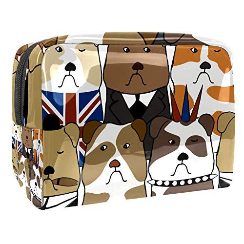Bolsa de maquillaje portátil con cremallera bolsa de aseo de viaje para las mujeres práctico almacenamiento cosmético bolsa inglés perro