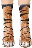 Animal Paws Socks - Funny 3D Animal Socks Crazy Cat Tiger Dog Paw Crew Socks Novelty Socks Gag Gifts White Elephant Gift Exchange
