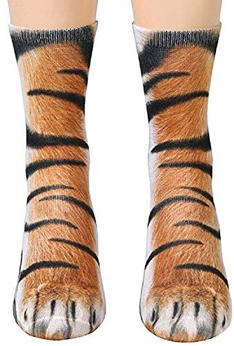 3D Socks Unisex Adult Animal Paw Crew Socks - Sublimated Print (Tiger)