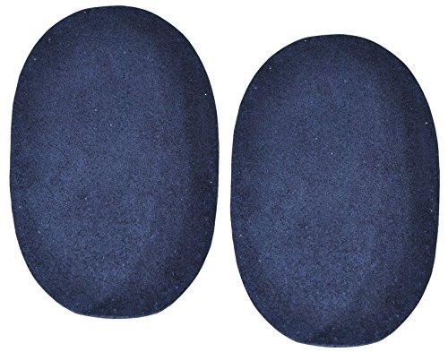 alles-meine.de GmbH 2 STK. Wildleder - echtes Leder - Flicken - dunkel blau - 10 cm * 15,5 cm - oval - Aufnäher zum Aufnähen / Applikation XL Format