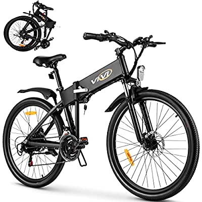 VIVI S3 Folding Electric Bike Electric Mountain Bike City Bike, 26'' Foldable Electric Bicycle 20Mph with 36V 8Ah Lithium-Ion Battery, 250W Motor and Shinmano Professional 21 Speed Gears, Black