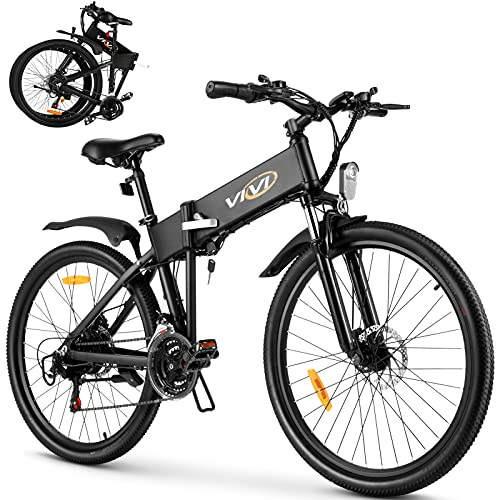 VIVI S3 Electric Bike Electric Mountain Bike, 26'' Folding Electric Bicycle for Adults, 20Mph with 36V 10.4Ah Lithium-Ion Battery, 350W Motor and Shinmano Professional 21 Speed Gears, Black
