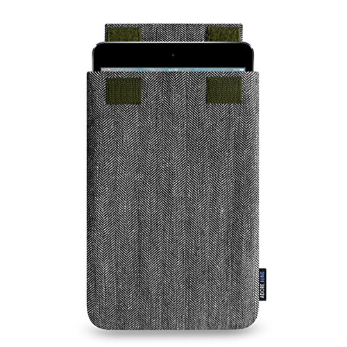 Adore June 7,9 Zoll Business Hülle für Apple iPad Mini 5 & iPad Mini 4, Tasche aus Charakteristischem Fischgrat-Stoff, Grau/Schwarz