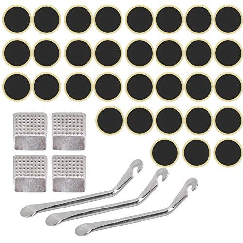 Kit de reparación de neumáticos de bicicleta - 39 piezas Kit de reparación de tubo interior de bicicleta Herramienta de reparación de pinchazos Palanca de neumáticos/Parche de neumáticos/Escofina de m